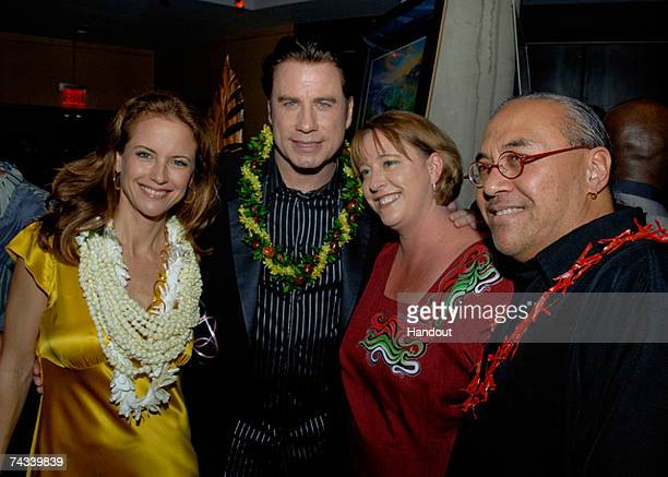 In this handout photo provided by the Church of Scientology Kelly Preston John Travolta Vicki Catingub and Matt Catingub attend a Fundraiser for...