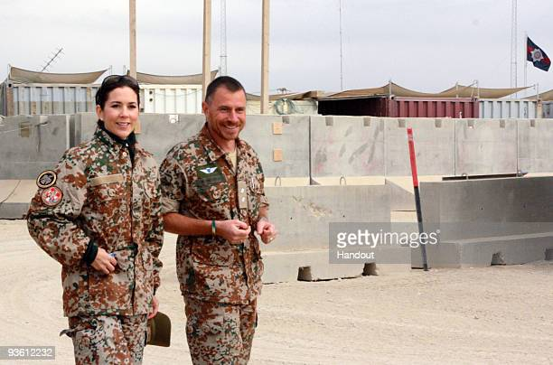 In this handout photo provided by The Danish Ministry of Defence HRH Crown Princess Mary of Denmark visits Danish troops on November 30 2009 in...