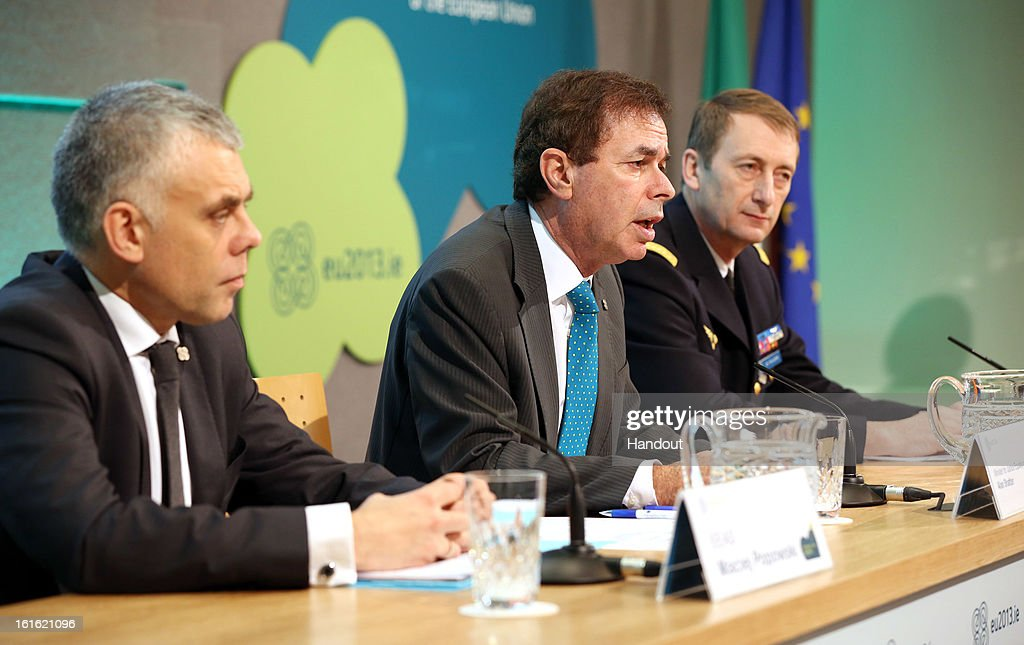 In this handout photo provided by the Dept of the Taoiseach, Maciej Popowski (L) Deputy Secretary-General EEAS (European External Action Service), Minister for Justice Equality and Defence Alan Shatter TD and General Patrick de Rousiers, EUMC at a press conference at the Informal Meeting of EU Defence Ministers on February 13, 2013 in Dublin Castle.