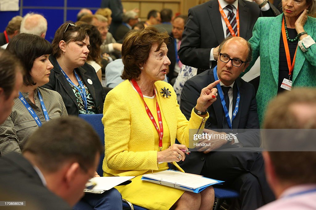 In this handout photo provided by the Dept of the Taoiseach, Neelie Kroes (in yellow suit), Vice President, European Commission in charge of Digital Agenda ECT, European Commission chatting with delegates at the Digital Skills for Jobs and Learning Workshop at Dublin Castle on June 19, 2013 in Dublin, Ireland. The Digital Agenda Assembly is being held over 2 days, 19th and 20th June at Dublin Castle.