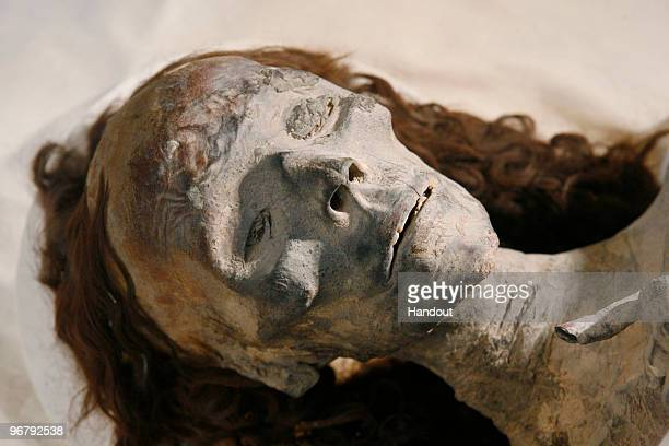 In this handout photo provided by the Discovery Channel Mummies King Tutankhamun's grandmother on display during a press conference by the head of...