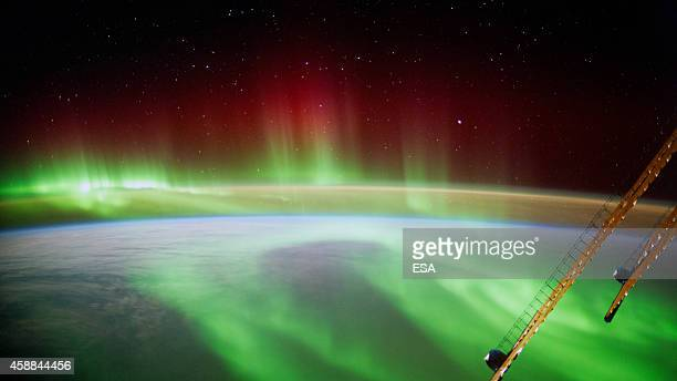 In this handout photo provided by the European Space Agency on September 9 German ESA astronaut Alexander Gerst took this image of an aurora as he...