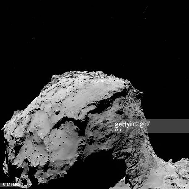 In this handout photo provided by the European Space Agency Rosettas OSIRIS wideangle camera captured this image of Comet 67P/ChuryumovGerasimenko at...