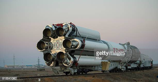 In this handout photo provided by the European Space Agency The Proton rocket that will launch the ExoMars 2016 spacecraft to Mars being rolled out...