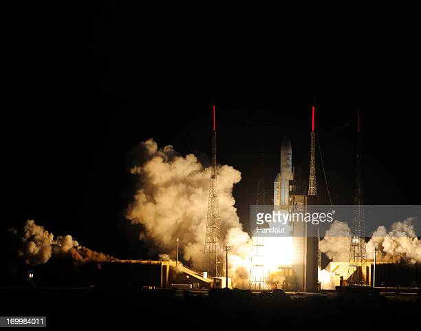In this handout photo provided by the European Space Agency Arianespace's unmanned Ariane 5 rocket carrying the automated transfer vehicle Albert...