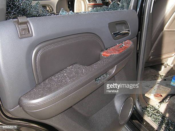 In this handout photo provided by The Florida Highway Patrol a door of the vehicle driven by Tiger Woods during his accident is seen on December 2...