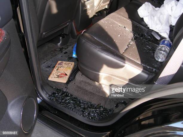 In this handout photo provided by The Florida Highway Patrol the interior of the vehicle driven by Tiger Woods during his accident is seen on...