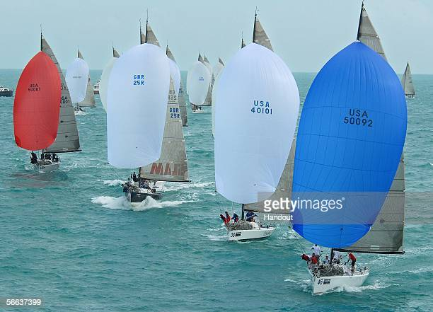 In this handout photo provided by the Florida Keys News Bureau Farr 40class boats sail during the final day of racing at the Acura Key West 2006...