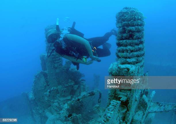 In this handout photo provided by the Florida Keys News Bureau Reese Kennedy swims between coralencrusted guns on the wreck of the Spiegel Grove in...