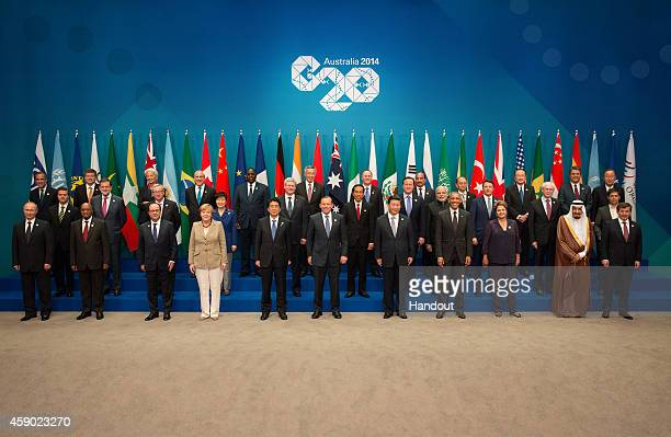 In this handout photo provided by the G20 Australia, Russia's President Vladimir Putin, South Africa's President Jacob Zuma, France's President...