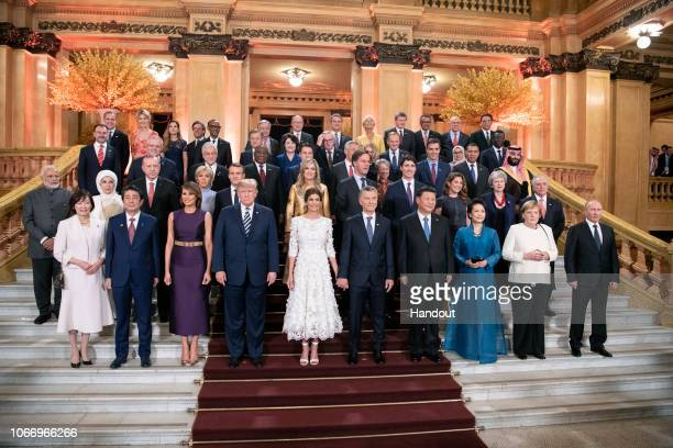 In this handout photo provided by the German Government Press Office Japan's Prime Minister Shinzo Abe and his wife Akie US President Donald Trump...