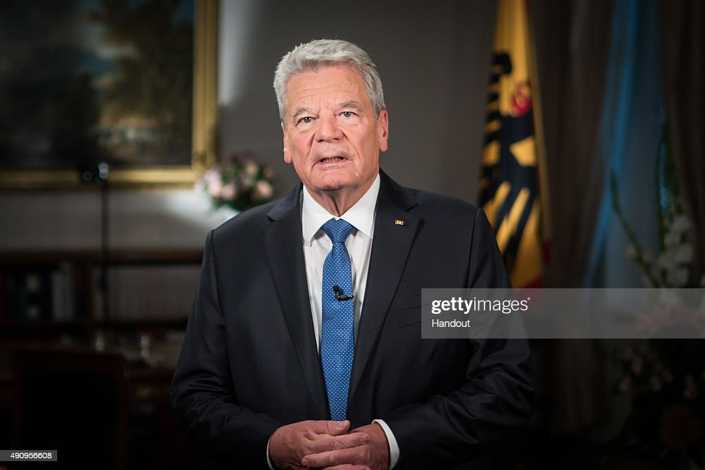 In this handout photo provided by the German Government Press Office (BPA) The patron of Welthungerhilfe, German President Joachim Gauck speaks during the recording of a call for donations for Welthungerhilfe in his office in Bellevue Palace on October 1, 2015 in Berlin, Germany. Welthungerhilfe, founding in 1962, is one of Germany's biggest private organisations for development and humanitarian aid. Since the organisations founding, all German presidents have continued the tradition of exercising federal patronage.