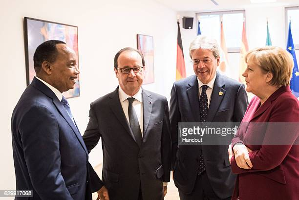In this handout photo provided by the German Government Press Office Federal Chancellor Angela Merkel before the meeting of the European Council...