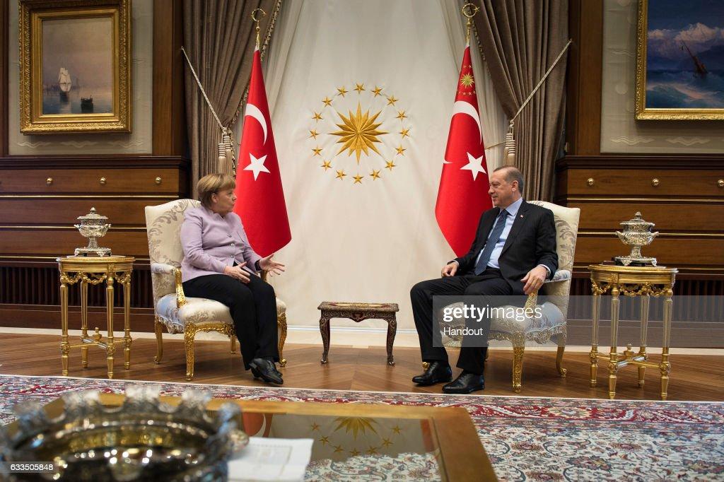 German Chancellor Angela Merkel Visits Turkish President Recep Tayyip Erdogan In Ankara : News Photo