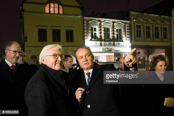 In this handout photo provided by the German Government Press Office German President FrankWalter Steinmeier and Slovakian President Andrej Kiska...