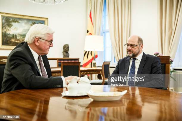 In this handout photo provided by the German Government Press Office German President FrankWalter Steinmeier meets Martin Schulz Chairman of the...