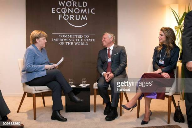 In this handout photo provided by the German Government Press Office Chancellor Angela Merkel the Jordanian King Abdullah II and Queen Rania at the...