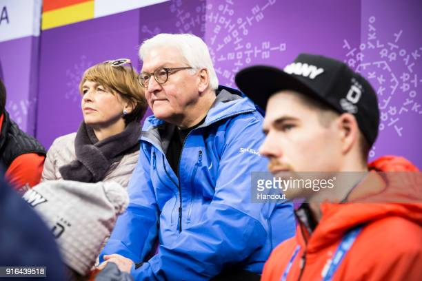 In this handout photo provided by the German Government Press Office German President FrankWalter Steinmeier and Elke Büdenbender follow the pair run...