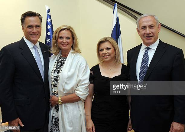In this handout photo provided by the GPO US Republican presidential candidate former Massachusetts Gov Mitt Romney his wife Ann Romney Sara...