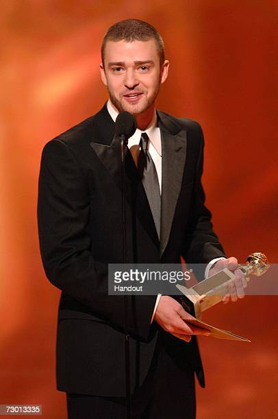 In this handout photo provided by the Hollywood Foreign Press Association actor/singer Justin Timberlake presents the Best Original Song In A Motion...