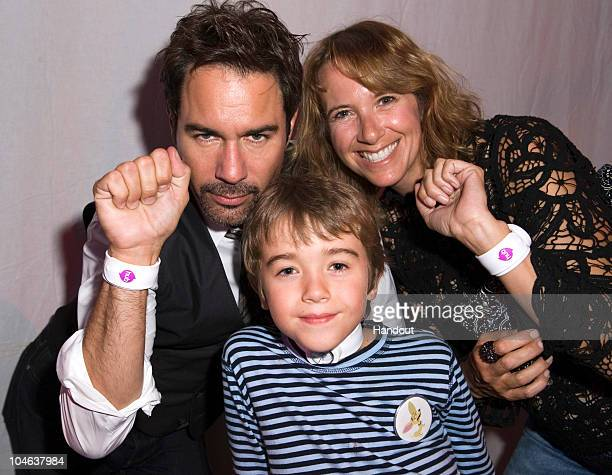 In this handout photo provided by The Hub Actor Eric McCormack son Finnigan McCormack and wife Janet McCormack pose with watches at The Hub TV Launch...