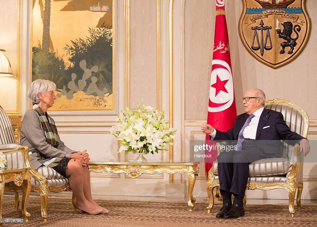 International Monetary Fund Managing Director Christine Lagarde Visits Tunisia : News Photo