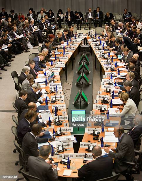In this handout photo provided by the International Monetary Fund an overview of the Development Committee is seen at the World Bank Headquarters...