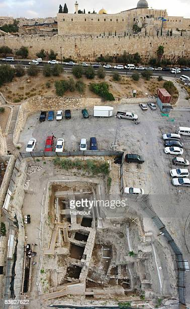 In this handout photo provided by the Israel Antiquities Authority on November 10 the City of David archaeological excavation where a 2000yearold...