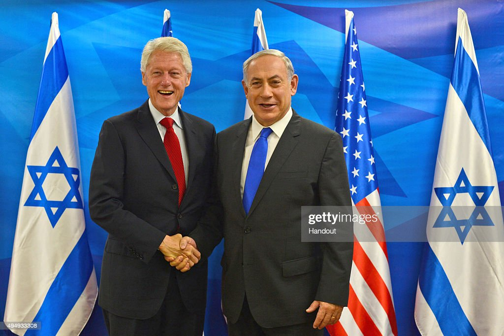 In this handout photo provided by the Israel Government Press Office, Prime Minister Benjamin Netanyahu meets with Bill Clinton, former president of the United States in October 30, 2015 in Jerusalem, Israel. Former US president is to speak at an event on Saturday marking the 20th anniversary of prime minister Yitzhak Rabin's assassination.
