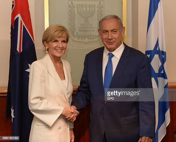 In this handout photo provided by the Israel Government Press Office Prime Minister Benjamin Netanyahu meets with Australian Foreign Minister Julie...