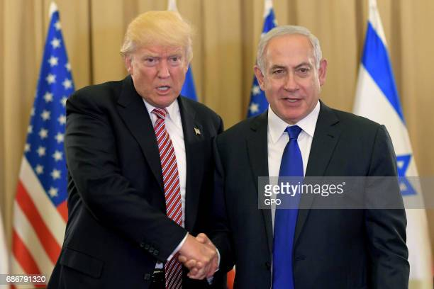 In this handout photo provided by the Israel Government Press Office US President Donald J Trump meets with Israel Prime Minister Benjamin Netanyahu...