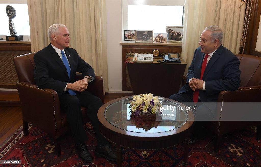 Israeli PM Netanyahu Meets US Vice President Pence : News Photo