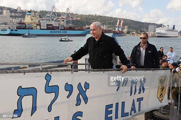 In this handout photo provided by the Israeli Government Press Office Israeli Prime Minister Benjamin Netanyahu during a visit to an Israeli navy...