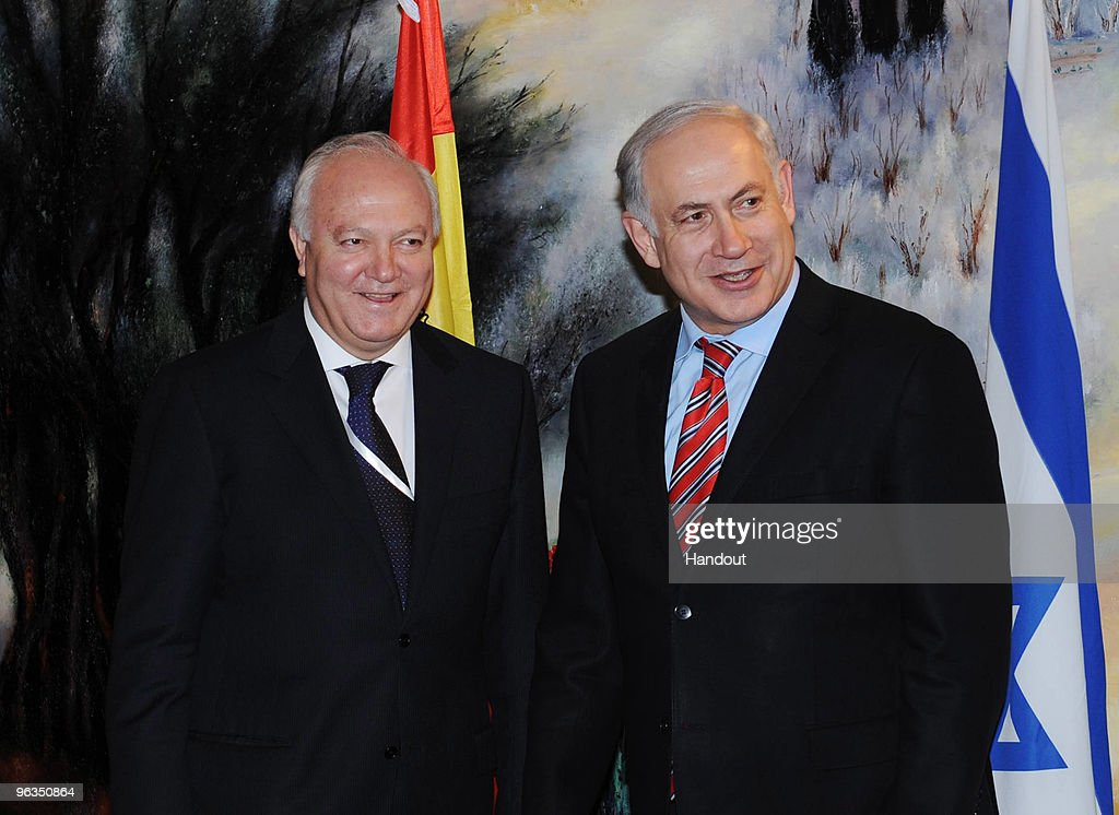 In this handout photo provided by the Israeli Government Press Office (GPO), Israeli Prime Minister Benjamin Netanyahu (R) meets Spanish Foreign Minister Miguel Angel Moratinos at the Knesset on February 2, 2010 in Jerusalem, Israel. Moratinos stated that the Spanish European Union Presidency will improve relations between the EU and Israel.