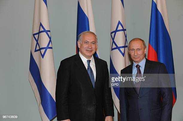 In this handout photo provided by the Israeli Government Press Office Israeli Prime Minister Benjamin Netanyahu meets with Russian Prime Minister...