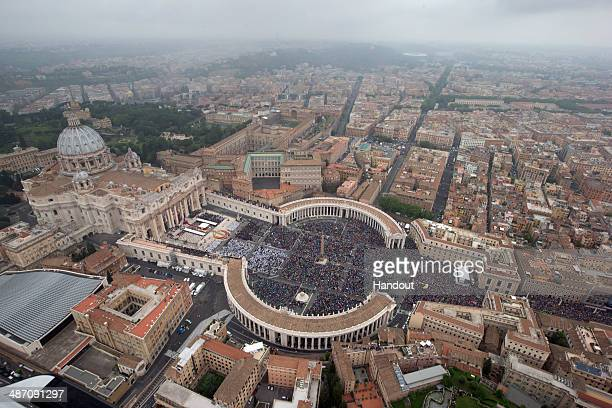In this handout photo provided by the Italian National Police, an aerial view of St. Peter's Square and Via della Conciliazione is seen as Pope...