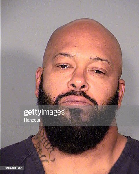 In this handout photo provided by the Las Vegas Metropolitan Police Department, producer Marion 'Suge' Knight is seen in a police booking photo after his arrest for allegedly stealing a photographers camera October 29, 2014 in Las Vegas, Nevada. The camera was allegedly taken from a paparazzo in Beverly Hills September 5. Knight was arrested by the Las Vegas Metropolitan Police Department after they were informed by the Beverly Hills Police Department that he was within their jurisdiction and had an active warrant.