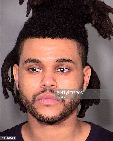 In this handout photo provided by the Las Vegas Metropolitan Police Department Musician Abel Tesfaye aka The Weeknd appears in a booking photo on...