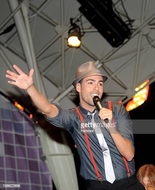 In this handout photo provided by the Las Vegas News Bureau Arias performs on stage for the Latin Grammy Street Party at the Fremont Street...