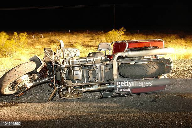 In this handout photo provided by the Nevada Highway Patrol a motorcycle involved in the fatal crash with musician Stefan Alois Lee frontman for the...