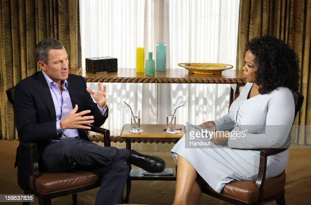 In this handout photo provided by the Oprah Winfrey Network Oprah Winfrey speaks with Lance Armstrong during an interview regarding the controversy...