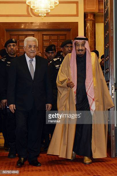 In this handout photo provided by the Palestinian Press Office Palestinian President Mahmoud Abbas meets with King Salman bin Abdul Aziz Al Saud...