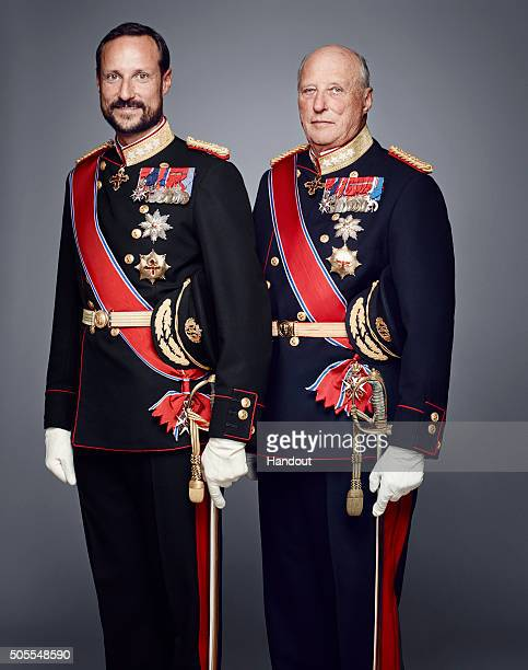 In this handout photo provided by the Royal Court Crown Prince Haakon of Norway and King Harald V of Norway pose for an official photograph from the...