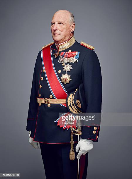 In this handout photo provided by the Royal Court King Harald V of Norway poses for an official photograph from the Royal Court on January 15 2016 in...