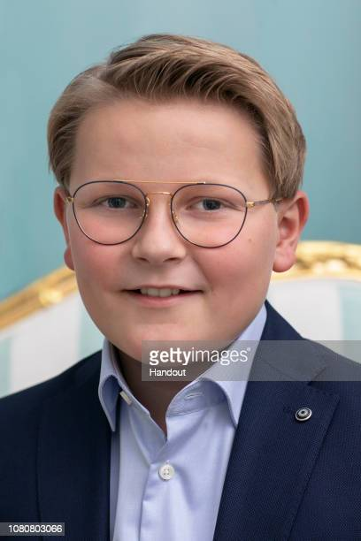 In this handout photo provided by the Royal Court Prince Sverre Magnus poses for an official photograph from the Royal Court on December 03 2018 in...