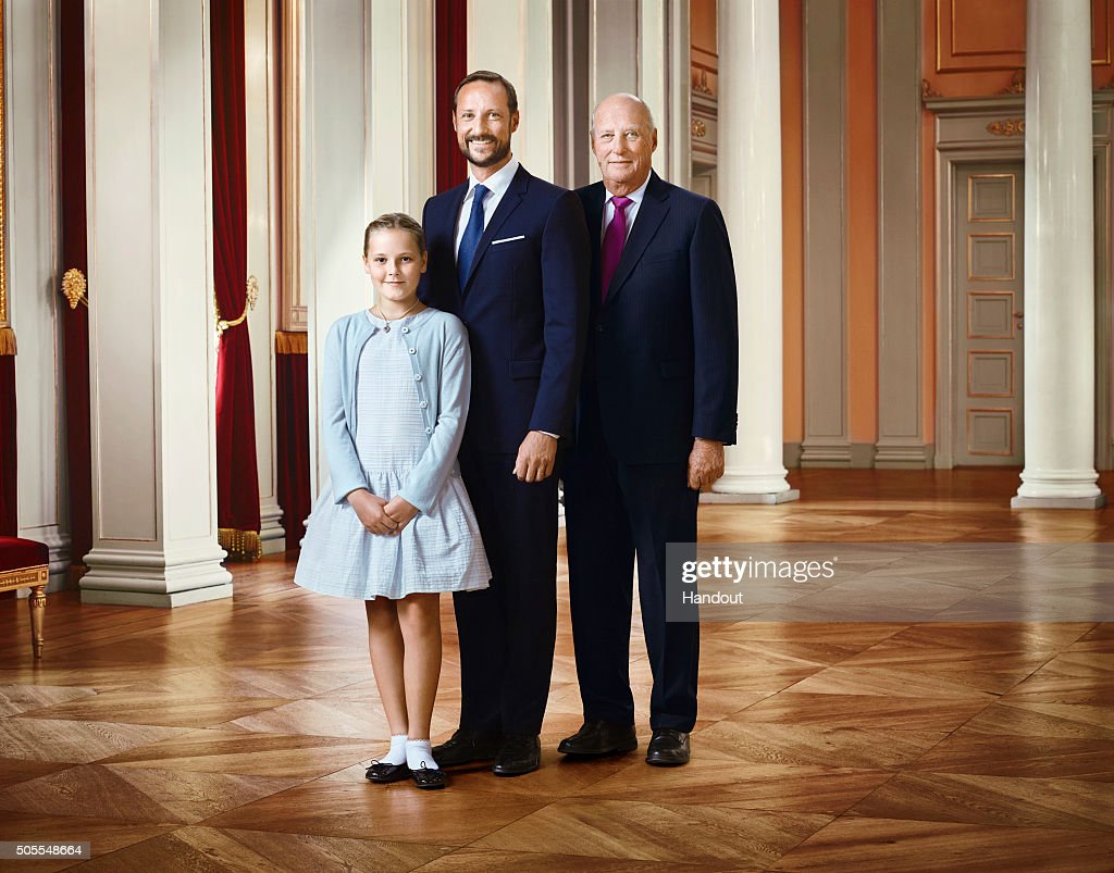 In this handout photo provided by the Royal Court, Princess Ingrid Alexandra of Norway, Crown Prince Haakon of Norway and King Harald V of Norway pose for an official photograph from the Royal Court on January 15, 2016 in Oslo, Norway.