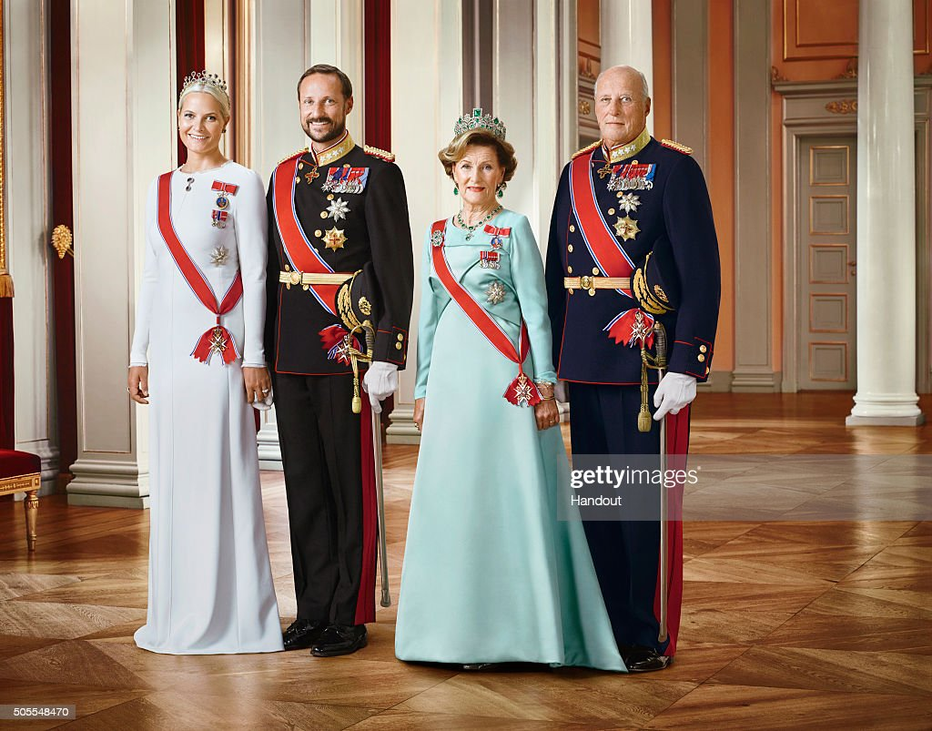 In this handout photo provided by the Royal Court, Princess Mette-Marit of Norway, Crown Prince Haakon of Norway, Queen Sonja of Norway and King Harald V of Norway pose for an official photograph from the Royal Court on January 15, 2016 in Oslo, Norway.