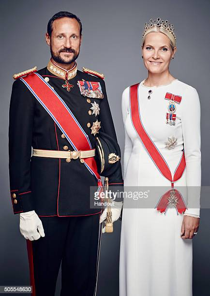 In this handout photo provided by the Royal Court Princess MetteMarit of Norway and Crown Prince Haakon of Norway pose for an official photograph...
