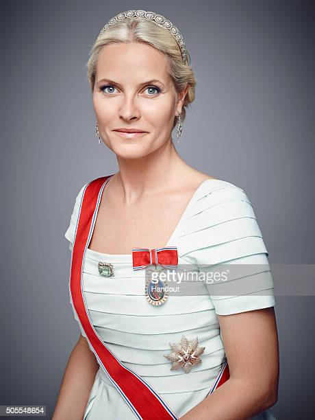 In this handout photo provided by the Royal Court Princess MetteMarit of Norway poses for an official photograph from the Royal Court on January 15...