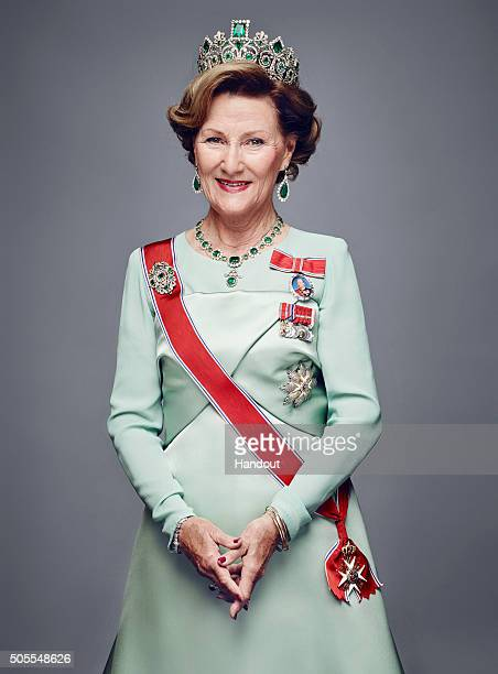 In this handout photo provided by the Royal Court Queen Sonja of Norway poses for an official photograph from the Royal Court on January 15 2016 in...